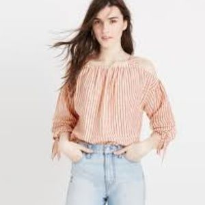 Madewell Red-Stripe Cold Shoulder Top